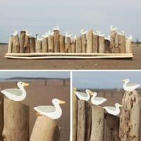 A Colony of Seagulls on Driftwood | Decorative Seagulls